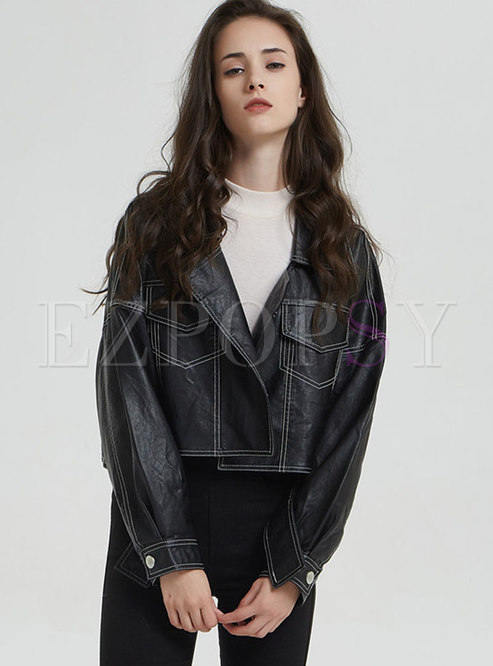 Turn Down Collar Sewing Thread Biker Jacket