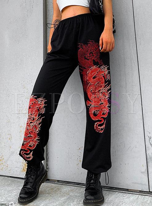 Black Elastic Waist Print Straight Pants