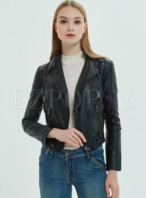 Solid Color Lapel PU Biker Jacket