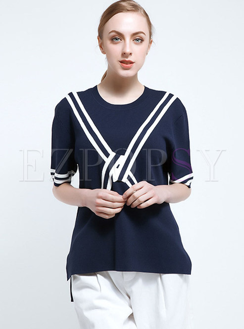 Color-blocked Half Sleeve Pullover Knit Tops