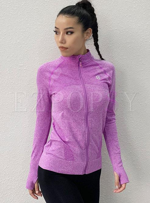 Mock Neck Tight Quick-drying Yoga Fitness Jacket