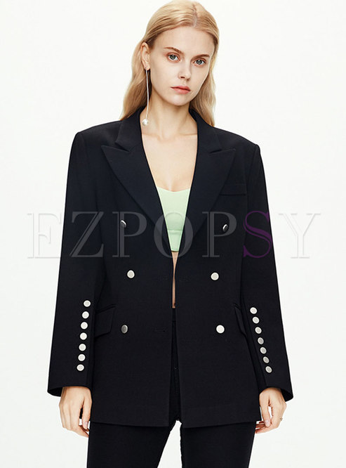 Solid Color Double-breasted Office Blazer