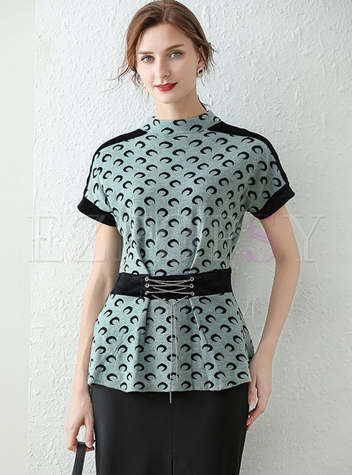 Print Pullover Mock Neck Drawstring T-shirt