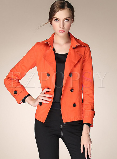 Double-breasted Short Slim Trench Coat