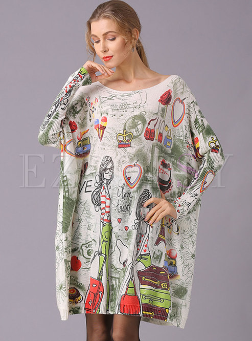 Plus Size Print Pullover Long Sweater