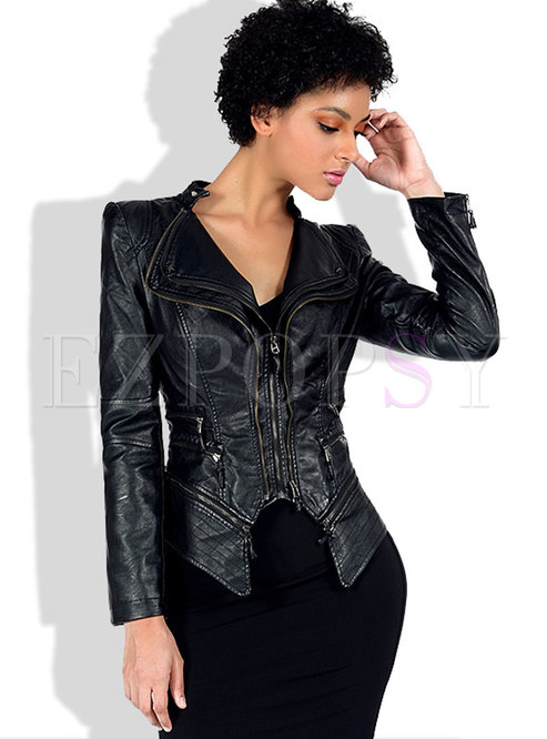 Black Rivet Short PU Biker Jacket