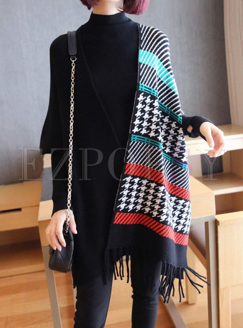 Striped Print Fringed Sweater Coat