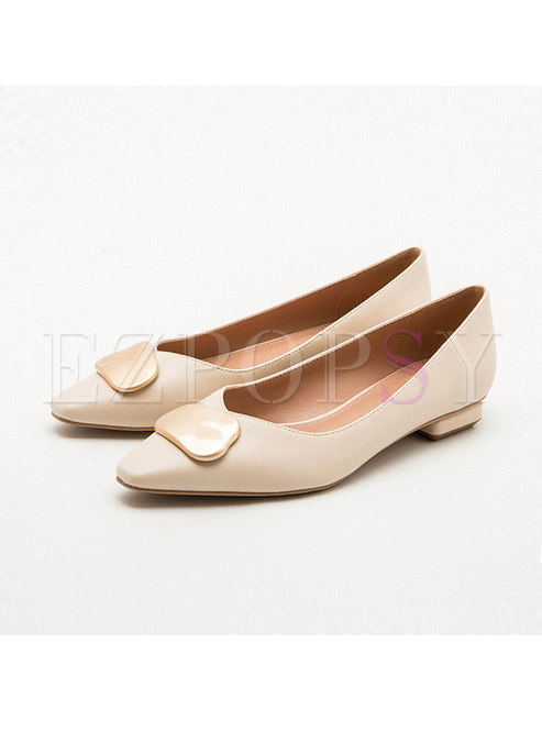 Square Toe Metal Decoration Low Heel Shoes