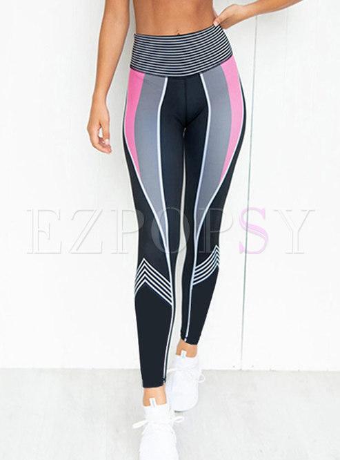 Stripe High Waisted Tight Yoga Pants