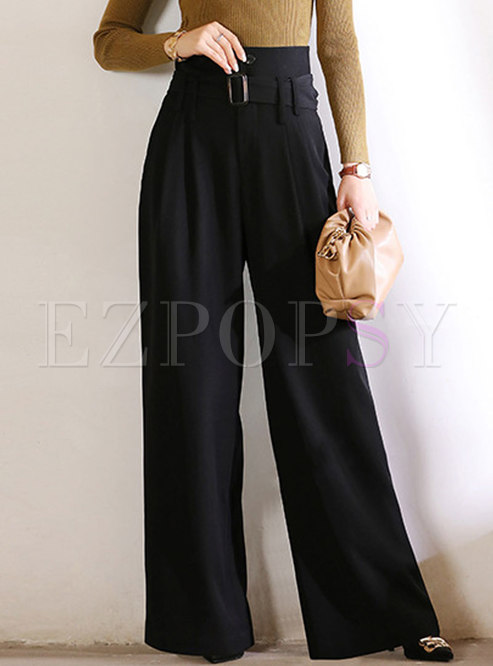 Black High Waisted Palazzo Pants With Belt