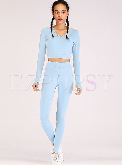 Long Sleeve Backless Breathable Tracksuit