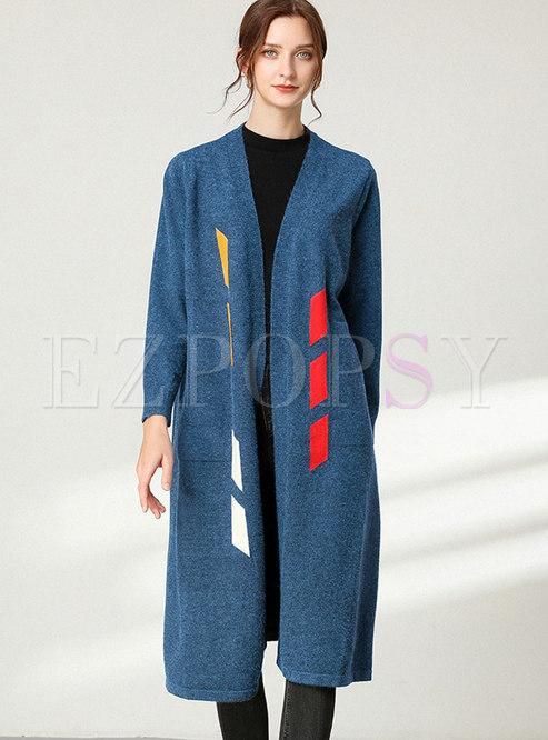 Color Block V-neck Straight Sweater Coat
