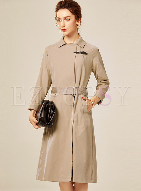 Turn Down Collar Belted Knee-length Trench Coat