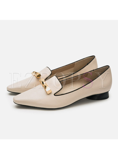 Low-fronted Block Heel Metal Decoration Shoes