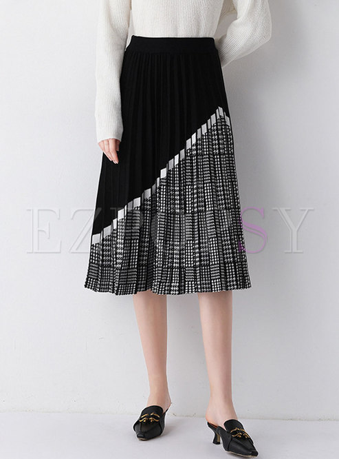Color Block Houndstooth Pleated Skirt