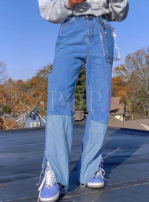 Color Block Patchwork Straight Pants