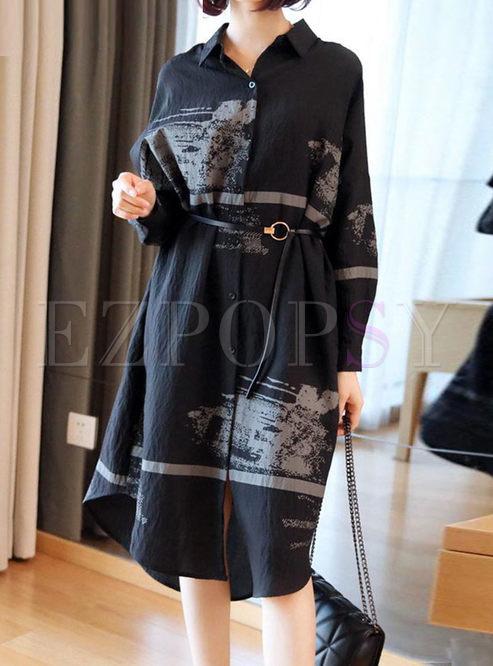 Black Lapel Print Shift Shirt Dress