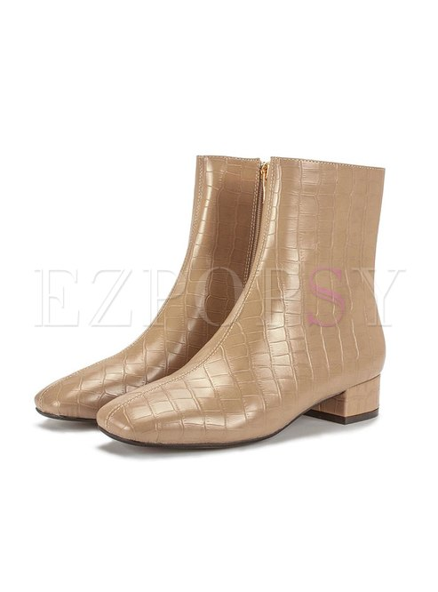 Rounded Toe Chunky Heel Side Zipper Short Boots