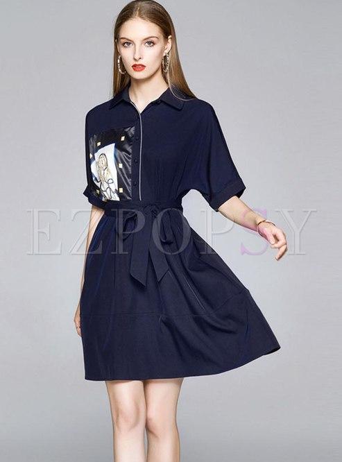 Print Patchwork High Waisted Skater Dress