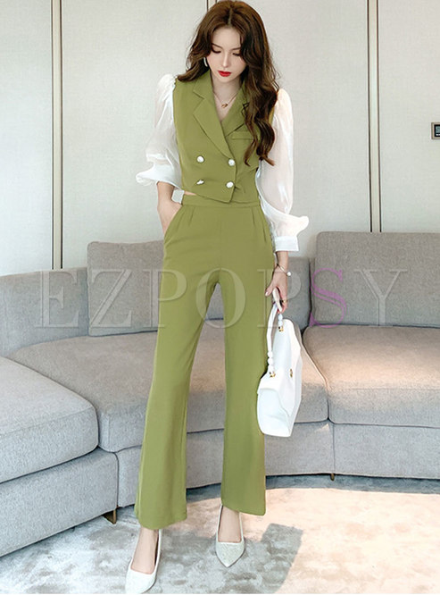 Lantern Sleeve Patchwork High Waisted Pant Suits