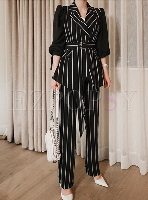 Striped Notched Belted Slim Pant Suits