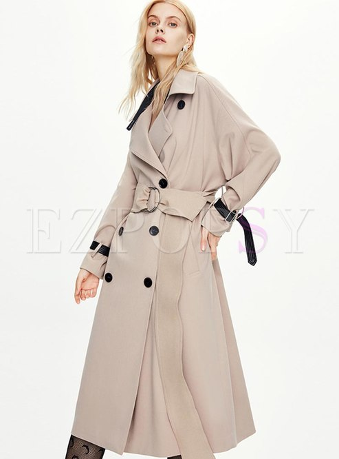 Lapel Double-breasted A Line Long Trench Coat