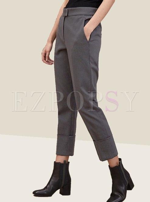 High Waisted Cropped Dress Pants