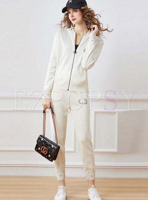Long Sleeve Beaded Sweater Casual Pant Suits