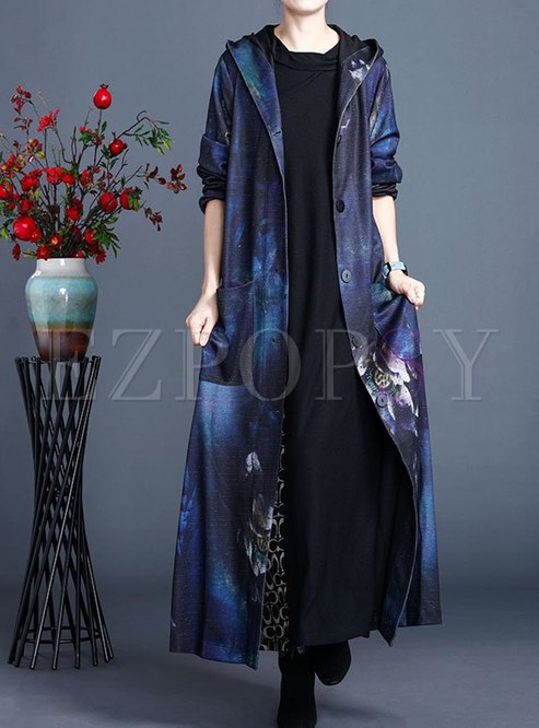 Plus Size Hooded Print Long Straight Coat