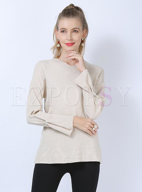 V-neck Beaded Pullover Pure Color Sweater