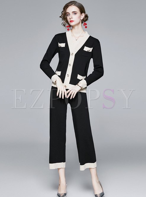 Color-blocked V-neck Knitted Pant Suits