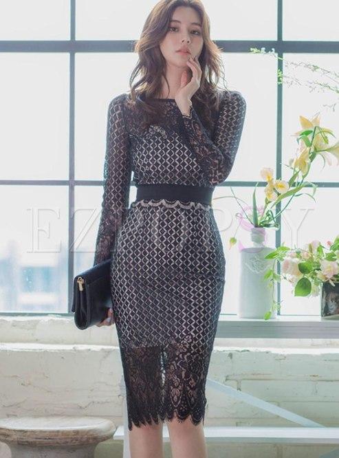 Lace Openwork Plaid Sheath Knee-length Dress