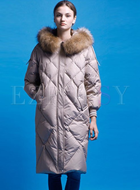 Hooded Long Straight Duck Down Coat