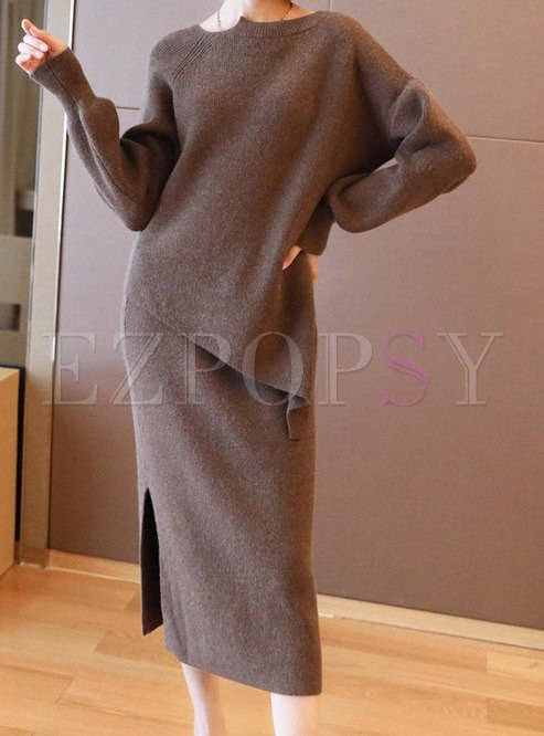 Asymmetric Pullover Split Sweater Skirt Suits
