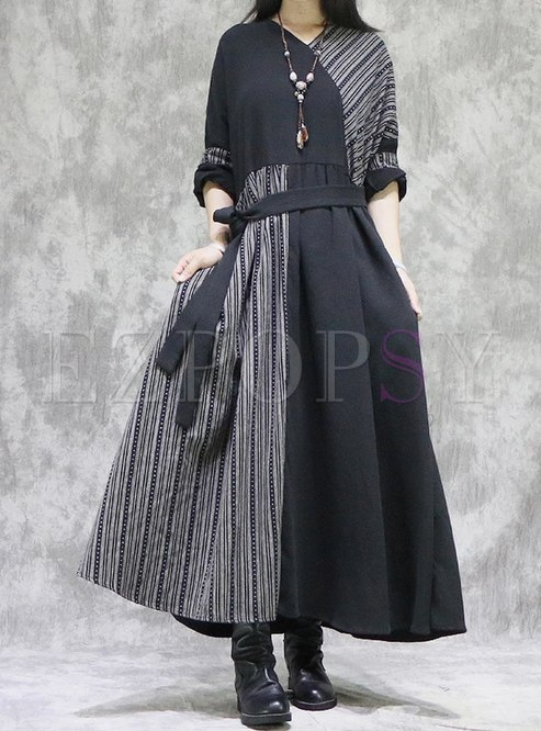 V-neck Striped Patchwork Plus Size Maxi Dress