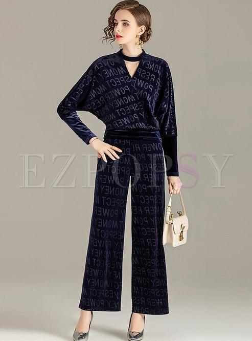 Letter Print Long Sleeve Velvet Pant Suits