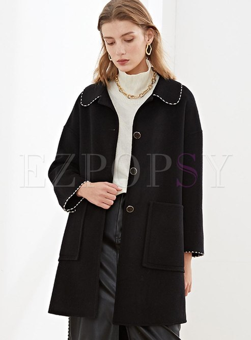 Turn Down Collar Single-breasted Wool Overcoat