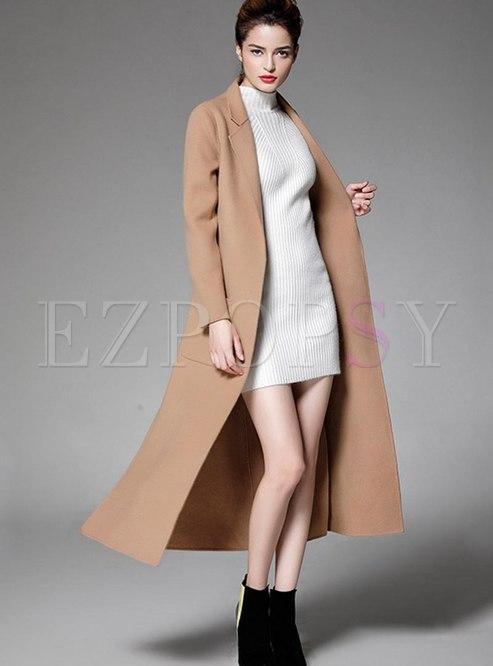 Lapel Split Straight Long Overcoat