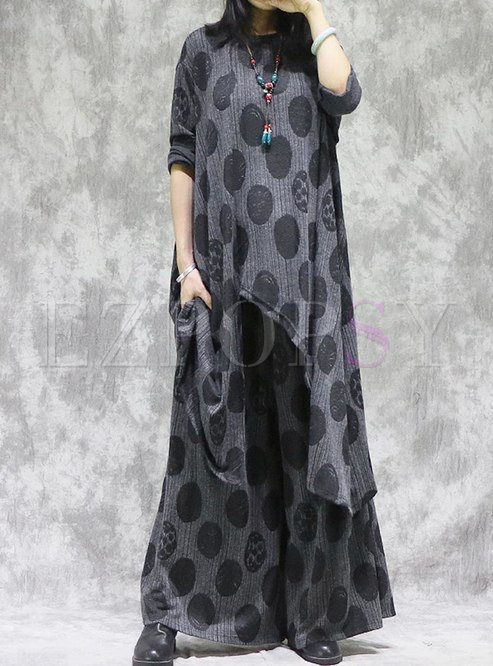 Polka Dot Plus Size Knitted Pant Suits