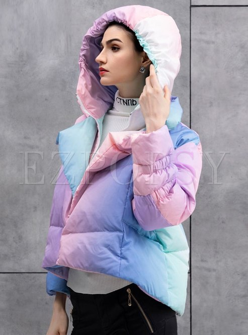 Hooded Color-blocked Short Down Coat