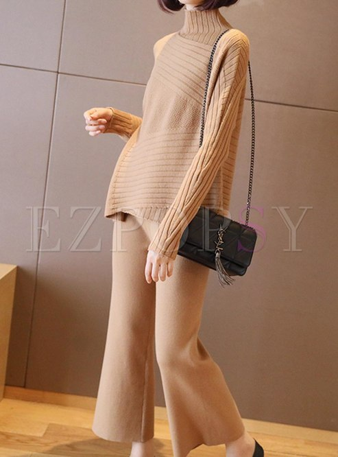 Turtleneck Asymmetric Loose Knitted Pant Suits