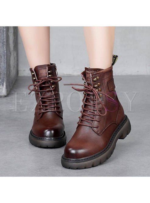 Rounded Toe Side Zipper Ankle Boots