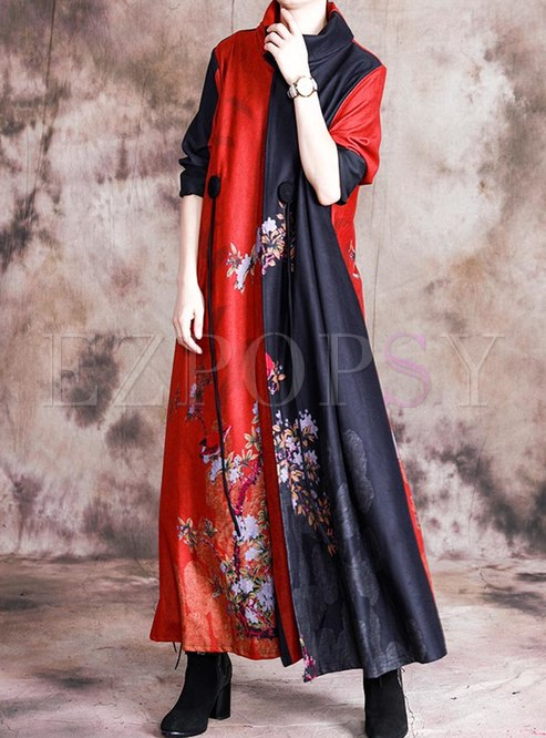 Mock Neck Print Patchwork Maxi Dress