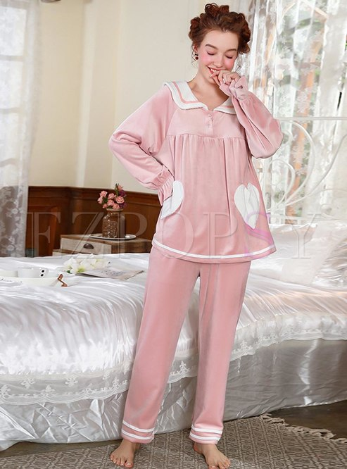 Sweet Color-blocked Velvet Loose Pajama Set