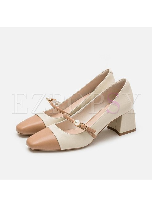 Square Toe Color-blocked Chunky Heel Pumps