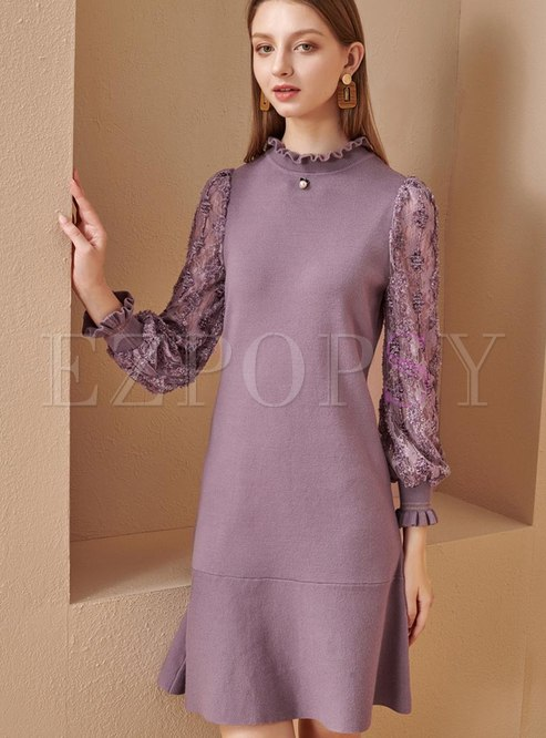 Mock Neck Lace Patchwork Sheath Peplum Dress