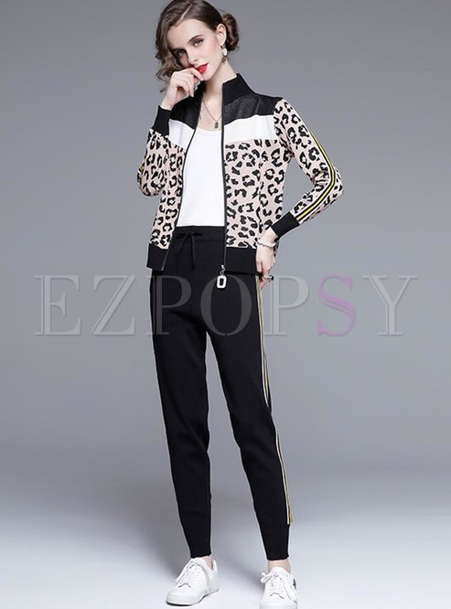 Leopard Patchwork Mock Neck Pant Suits