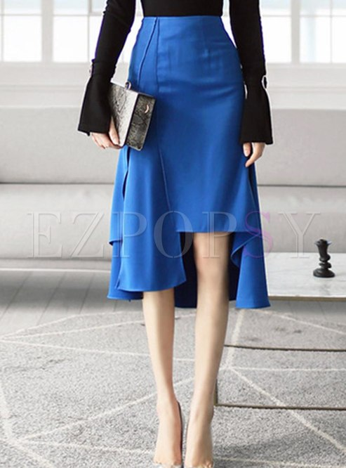 High Waisted Asymmetric Knee-length Skirt