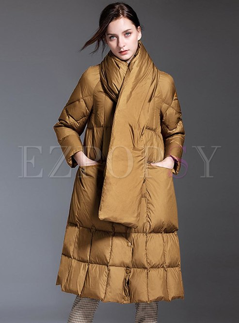 Mock Neck A Line Loose Long Puffer Coat