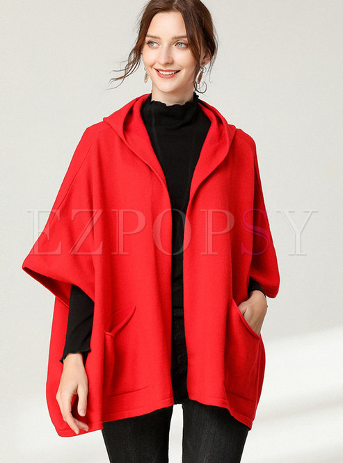 Plus Size Hooded Bat Sleeve Knitted Coat